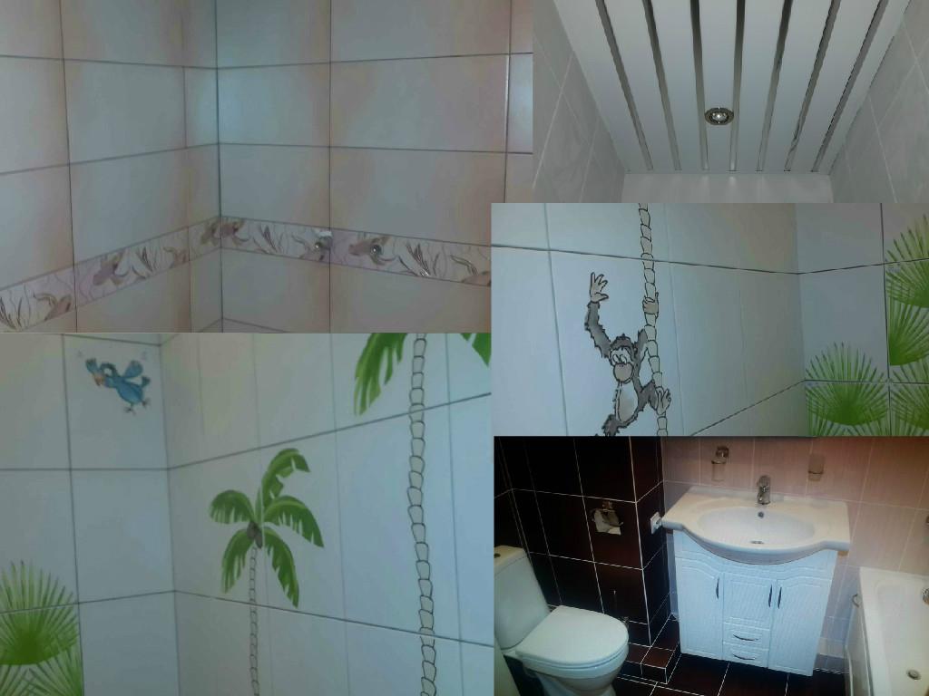 Коллаж ремонта ванной из плитки