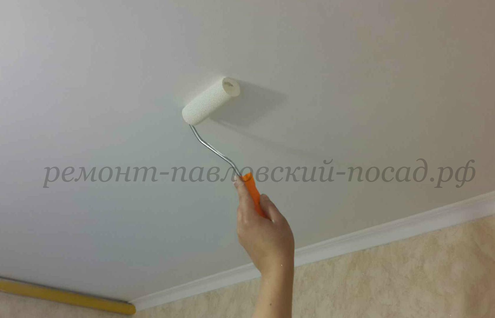 побелка потолка из гисокартона