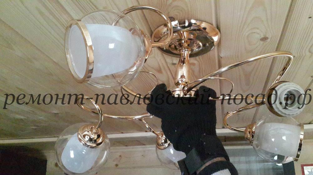 установка лампы на потолок