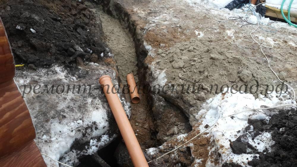 установка трубы в земле