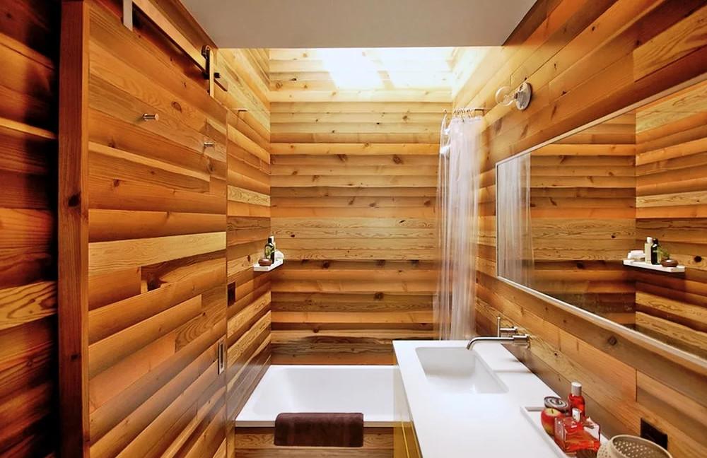 отделка деревом ванна